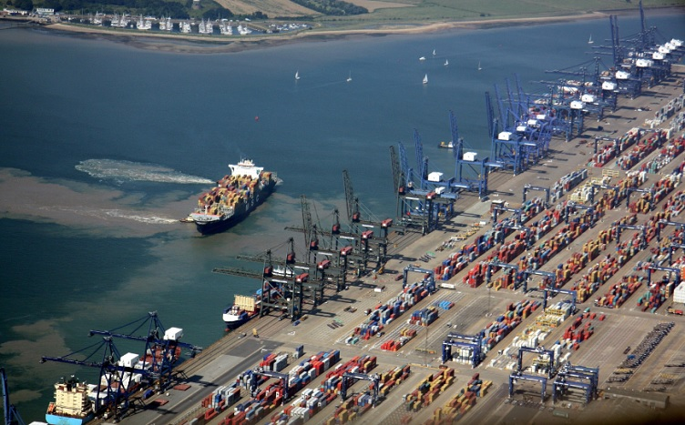 Aerial view of Felixstowe Port