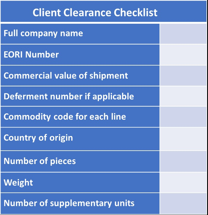 European customs checklist