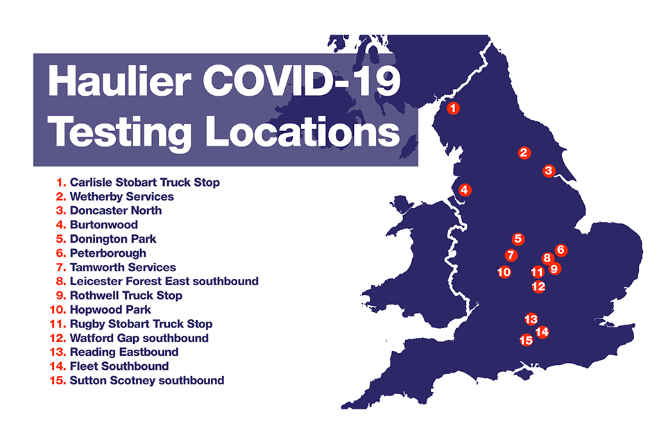 Haulier Covid-19 testing sites